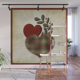 Red & Green Plaid Heart Love Letter Wall Mural