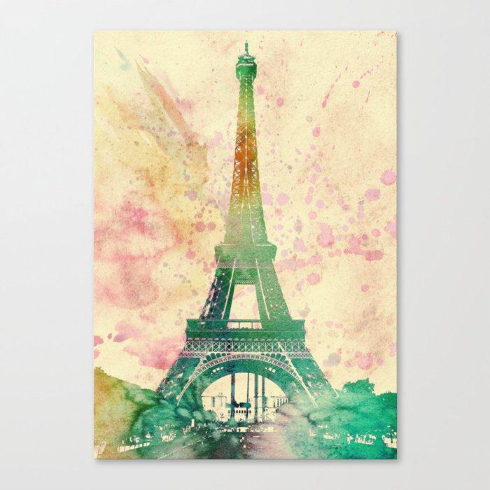 Paris Eiffel tower watercolor poster Canvas Print by lautstarke ...