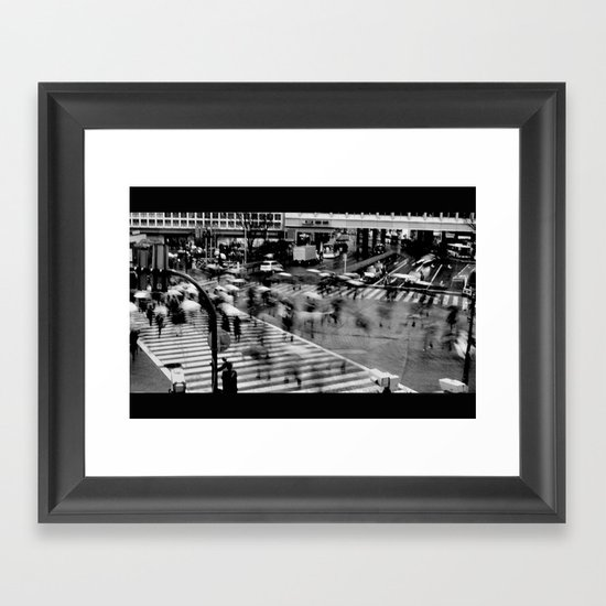 Shibuya Crossing Motion Framed Art Print