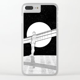 Angel of the North black and white Clear iPhone Case