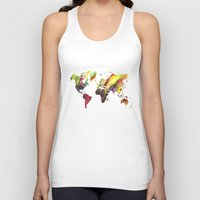 new order Tank Tops featuring World Map new order by jbjart