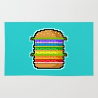 hamburger Area & Throw Rugs featuring Pixel Hamburger by Sombras Blancas Art & Design