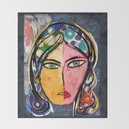 Portrait of a mystique girl Throw Blanket