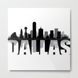 Dallas Silhouette Skyline Metal Print