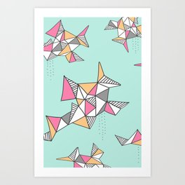 Geometric Design, Teal and Pink Triangles Art Print