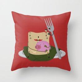 Tamal con cerdo Throw Pillow