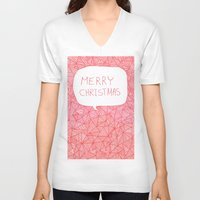merry christmas V-neck T-shirts featuring Merry Christmas! by Fimbis