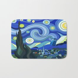 Tardis Art Starry Night Bath Mat