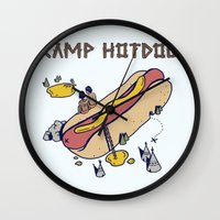 camp Wall Clocks featuring CAMP by Laura O'Connor