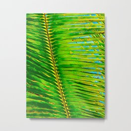Coconut Frond in Green Aloha Metal Print