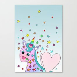 Blue Sky Rainbow the Unicorn Canvas Print