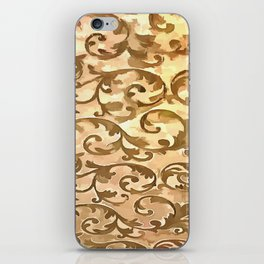Stylized Foliage Leaves In Gold iPhone Skin