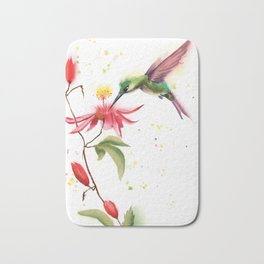 Hummingbird and flower Bath Mat