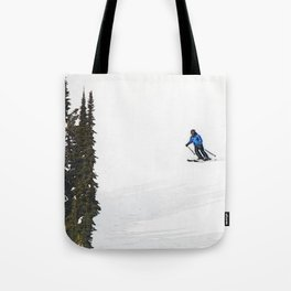 Downhill Skier - Winter Sports Scene Tote Bag