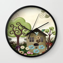 Bonnie Memories Whimsical Folk Art Wall Clock