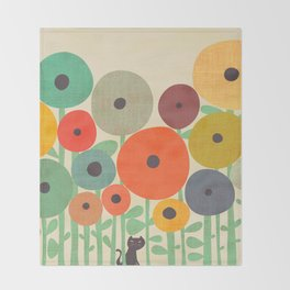 Cat in flower garden Throw Blanket