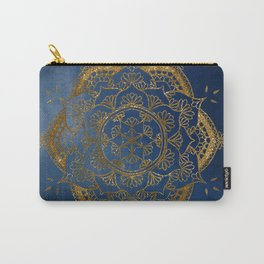 Blue and gold mandala flower Carry-All Pouch