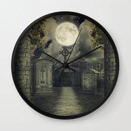 Graveyard #4 * cemetary thombstone creepy scary Wall Clock