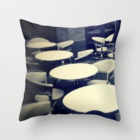 outdoor Throw Pillows featuring Outdoor Cafe Chairs by ELIZABETH THOMAS Photography of Cape Cod