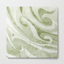 Abstract Green Waves Design Metal Print
