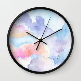 sunny clouds: watercolor painting Wall Clock