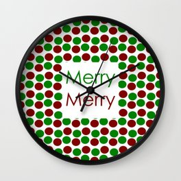 Merry Merry with Red and Green Dots Wall Clock
