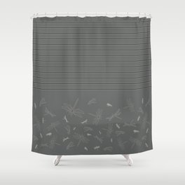 Dragonfly Pattern on Warm Grey Shower Curtain