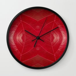Warm Red Leatherette Wall Clock