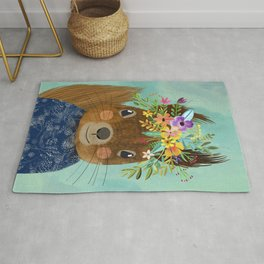 Squirrel with floral crown Rug