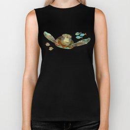Sea Turtle Over Atlantis Biker Tank