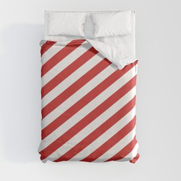 Red and White Candy Cane Stripes, Thick Angled Lines Festive Christmas Duvet Cover