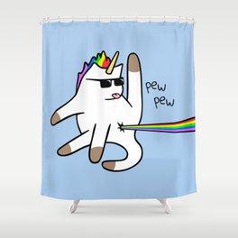 Unicorn Cat Rainbow Butt Laser Shower Curtain
