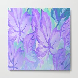 Painterly Lavender And Blue Foliage Metal Print
