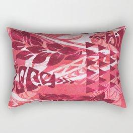 Red Tribal Tapa Print Rectangular Pillow