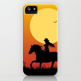 Riding Under a Harvest Moon iPhone Case
