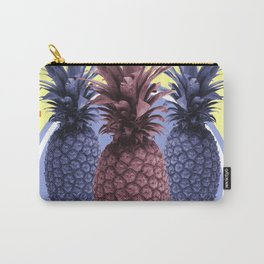 Pineapple Print - Tropical Decor - Botanical Print - Pineapple Wall Art - Yellow, Blue - Minimal Carry-All Pouch
