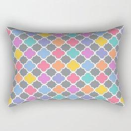 Rainbow & Gray Quatrefoil Rectangular Pillow