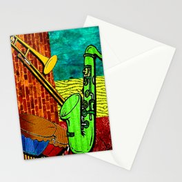 Earthy Music Instrument Collage with saxophone, drums, and trumpet Stationery Cards