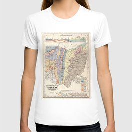 Vintage Geological Map of Ohio (1872) T-shirt
