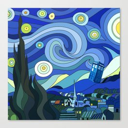 Tardis Art Starry Night Canvas Print
