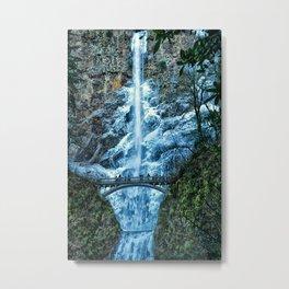 Multnomah Falls in Winter Metal Print