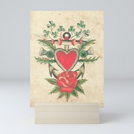 Vintage Tattoo Design with an Anchor and Heart Mini Art Print