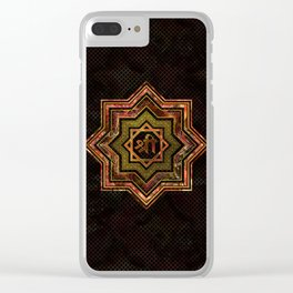 Red Gemstone and gold  Star of Lakshmi -  and Sri Clear iPhone Case