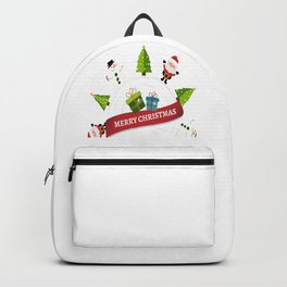 Merry Christmas From Santa & Snowman Backpack