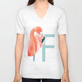 F - Flamingo Unisex V-Neck