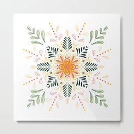 Modern Mandala No.1 in Spring Green Metal Print