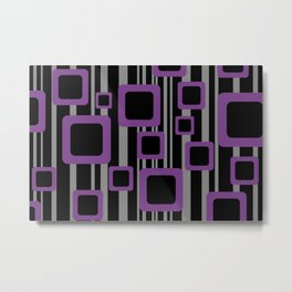 Violet Black Pattern Rectangles #society6  Metal Print