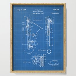 Selmer Saxophone Patent - Saxophone Art - Blueprint Serving Tray