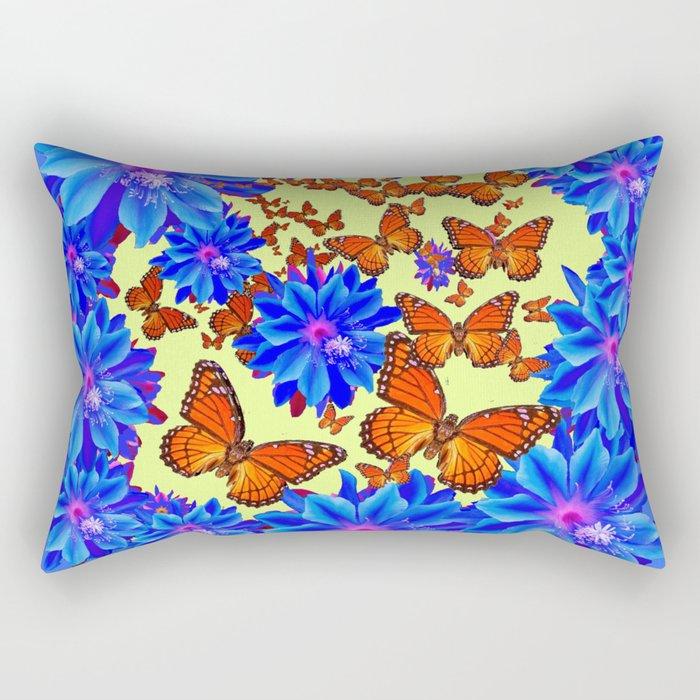 Orange Butterflies Blue  Floral Wreath art Rectangular Pillow