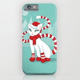 White cat in Christmas mood iPhone Case